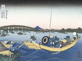 葛飾北斎 富嶽三十六景 「御厩川岸より両国橋夕陽見」